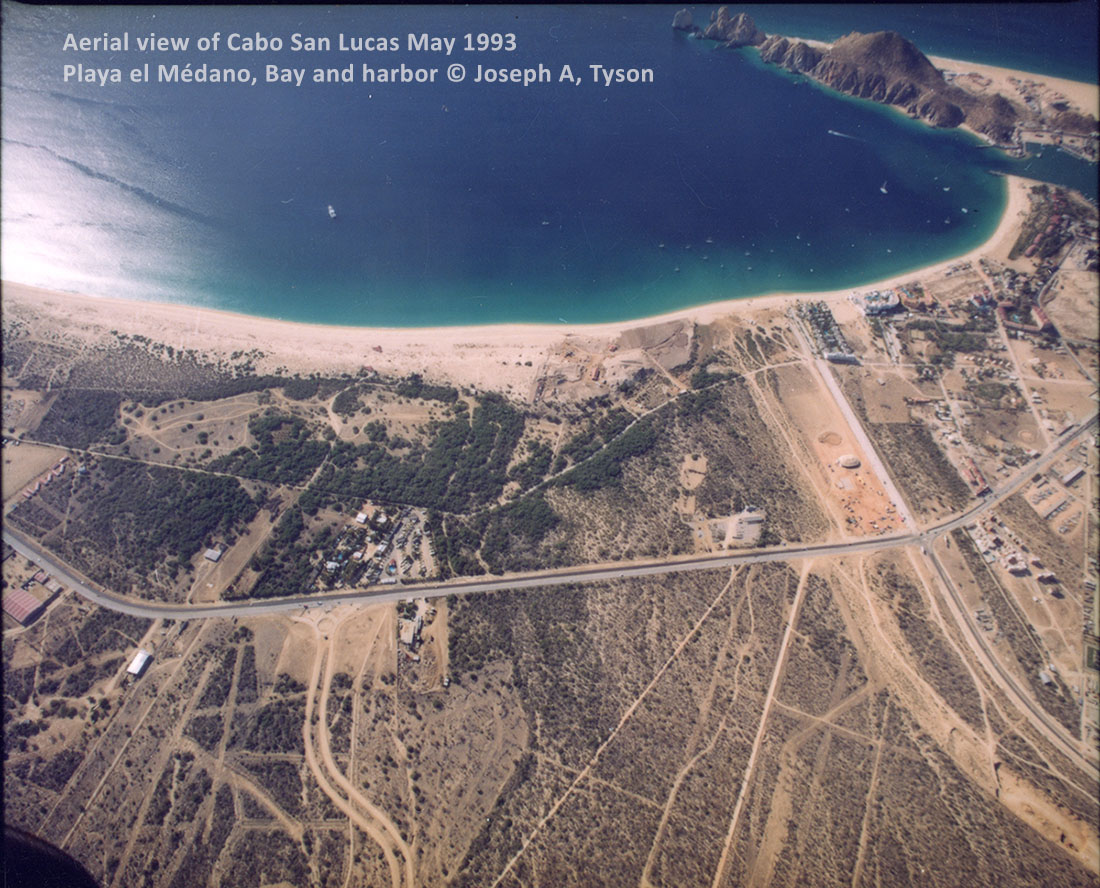 Aerial View of Cabo San Lucas Bay, Harbor, and Medano Beach. Photo May 1993 by Joseph A. Tyson.