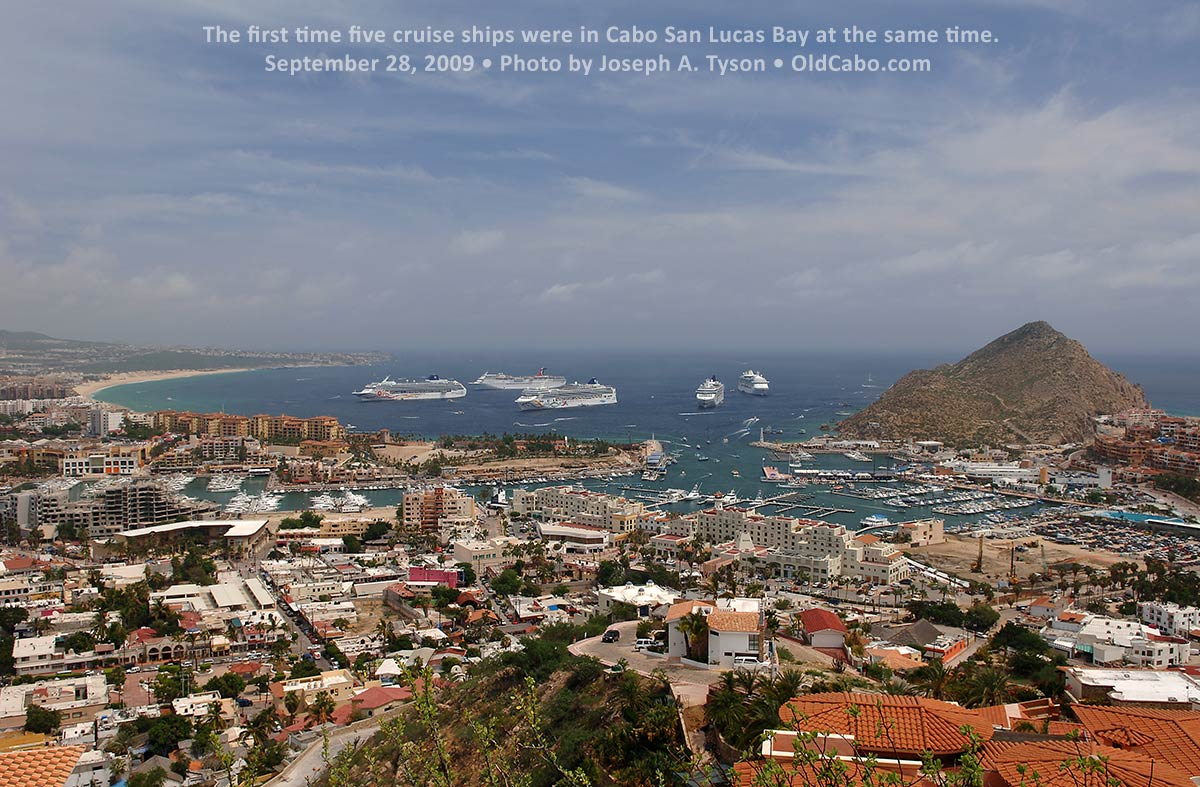 The first time five cruise ships were in Cabo San Lucas Bay at the same time. September 28, 2009. Photo by Joseph A. Tyson