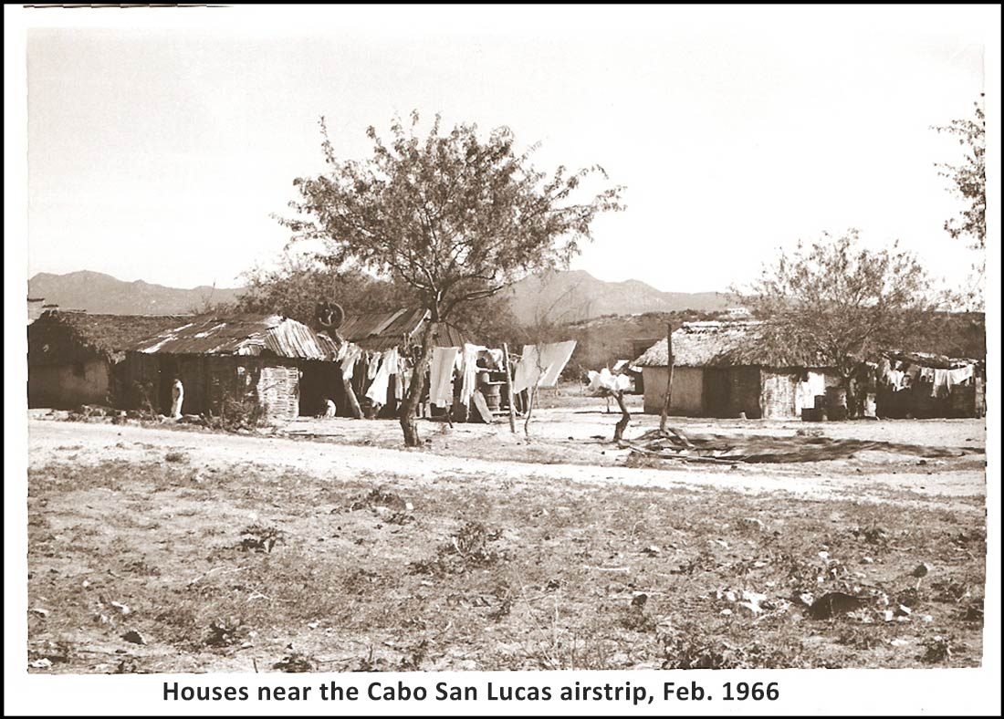 Houses near the Cabo San Lucas airstrip in February 1966.