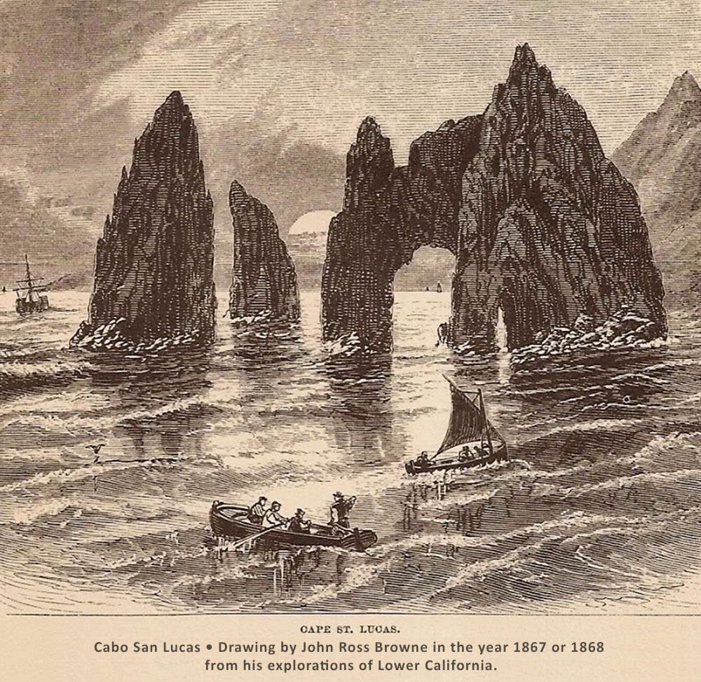 Cabo San Lucas • Drawing by John Ross Browne in the year 1867 or 1868  from his explorations of Lower California.
