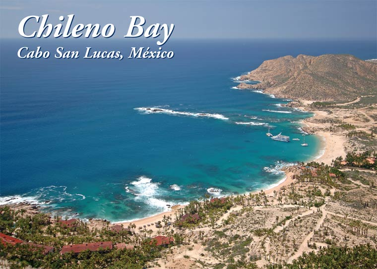 Post card of Chileno Beach showing part of Hotel Cabo San Lucas. Photo Joseph A. Tyson