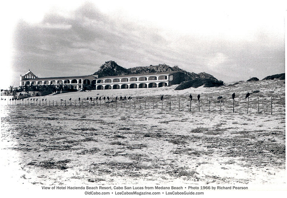 View of Hotel Hacienda Beach Resort, Cabo San Lucas from Medano Beach • Photo 1966 by Richard Pearson