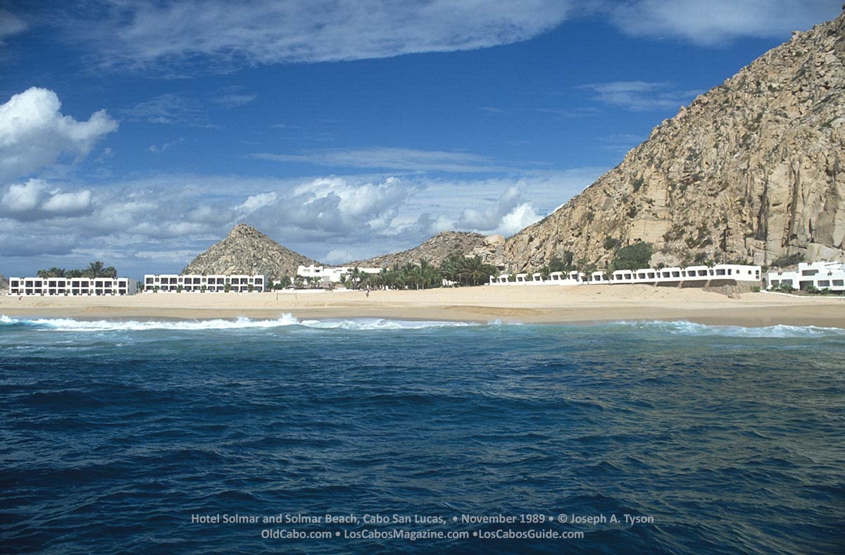 Hotel Solmar and Solmar Beach, on the Pacific Ocean in Cabo San Lucas, Photo November 1989 by Joseph A. Tyson.