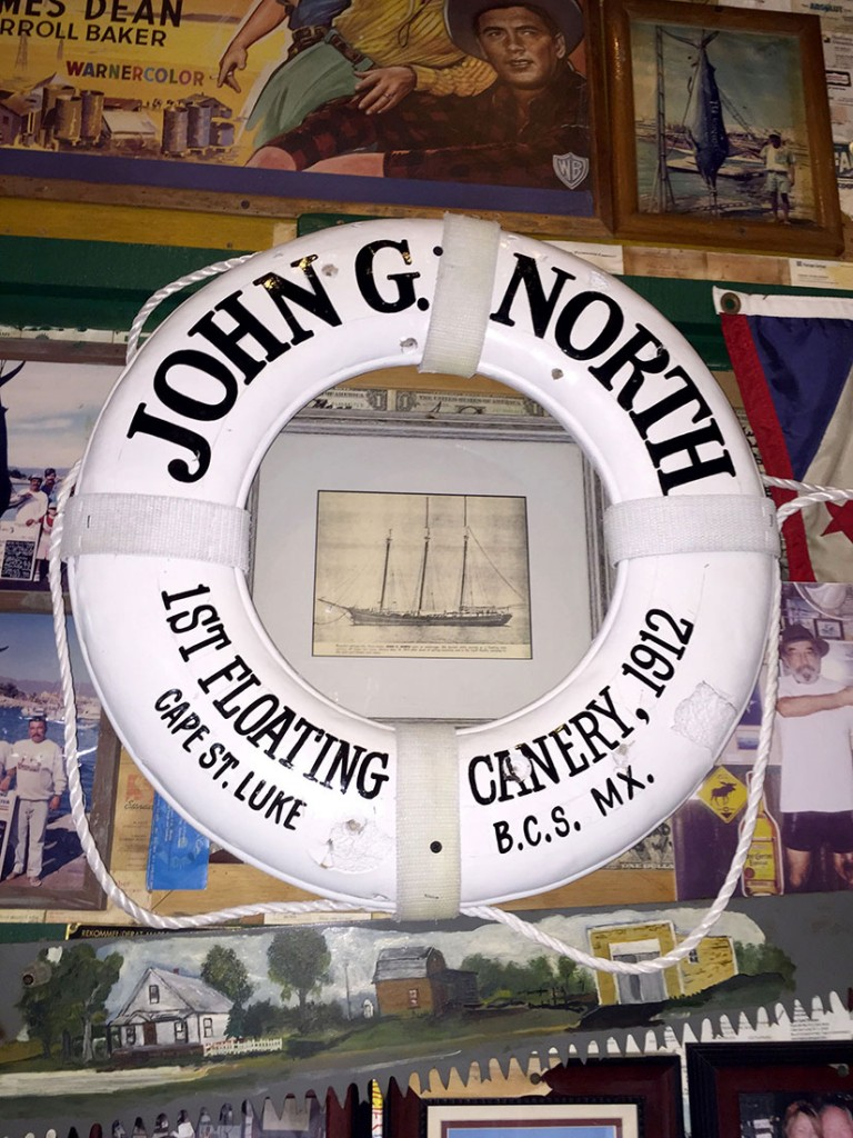 Photo of the John G. North and float on display at Latitude 22 The Roadhouse Cabo.