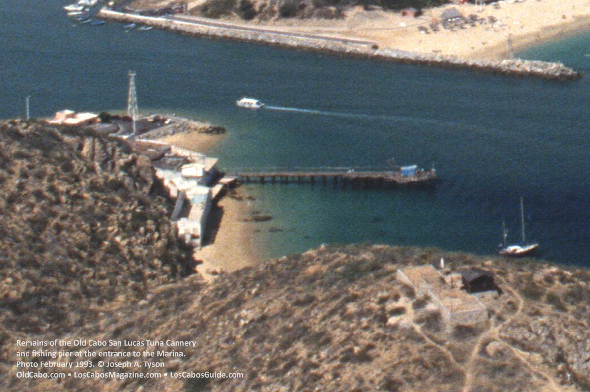 The old Cabo San Lucas tuna cannery and fishing pier. Photo February 1993 by Joseph A. Tyson.