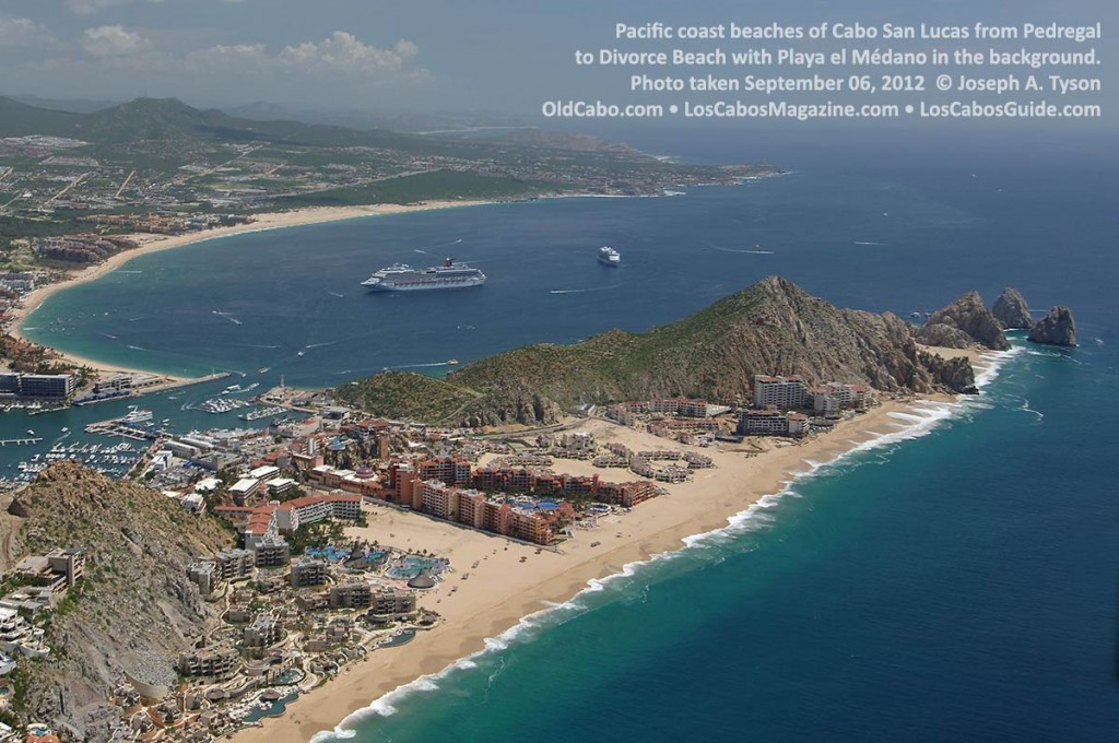 Pacific coast beaches of Cabo San Lucas from Pedregal to Divorce Beach with Playa el Médano in the background. Photo taken September 06, 2012  © Joseph A. Tyson OldCabo.com • LosCabosMagazine.com • LosCabosGuide.com