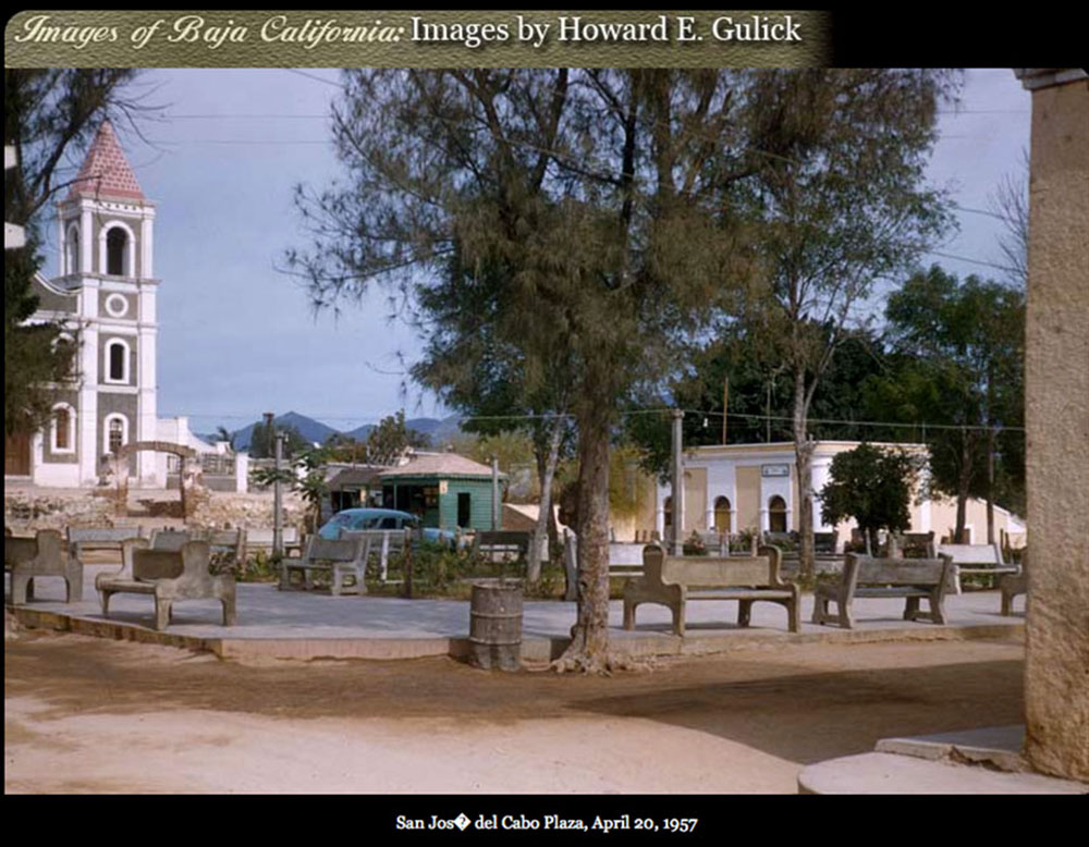 San Jose del Cabo town square, April, 1957. Photo by Howard E. Gulick.