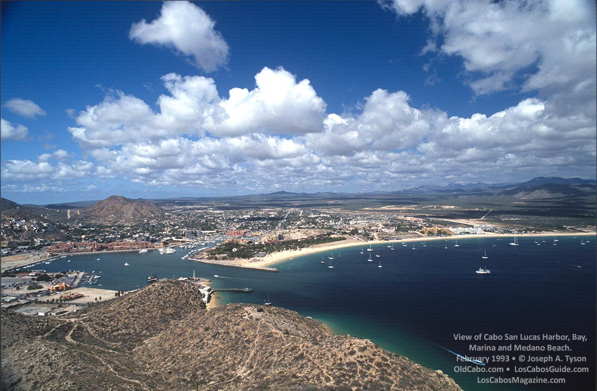 View of Cabo San Lucas Bay, Harbor, Marina, and Medano Beach. Photo February 1993 by Joseph A. Tyson.