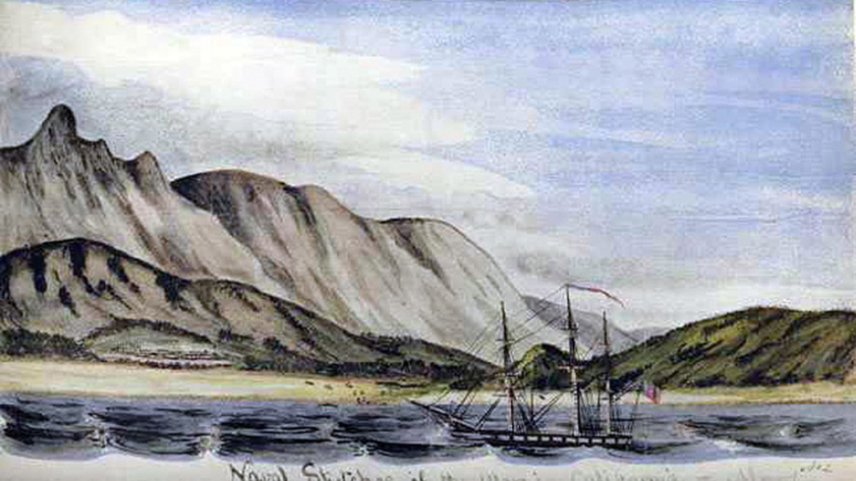 William H. Meyers, watercolor, 1847. Naval Sketches of the War in California, limited Edition of 1,000, Grabhorn Press, San Francisco, 1939. The USS Sloop Dale off San Jose del Cabo, the extreme lower point of Lower California. 18 November 1846.  From the collection of Franklin Delano Roosevelt.