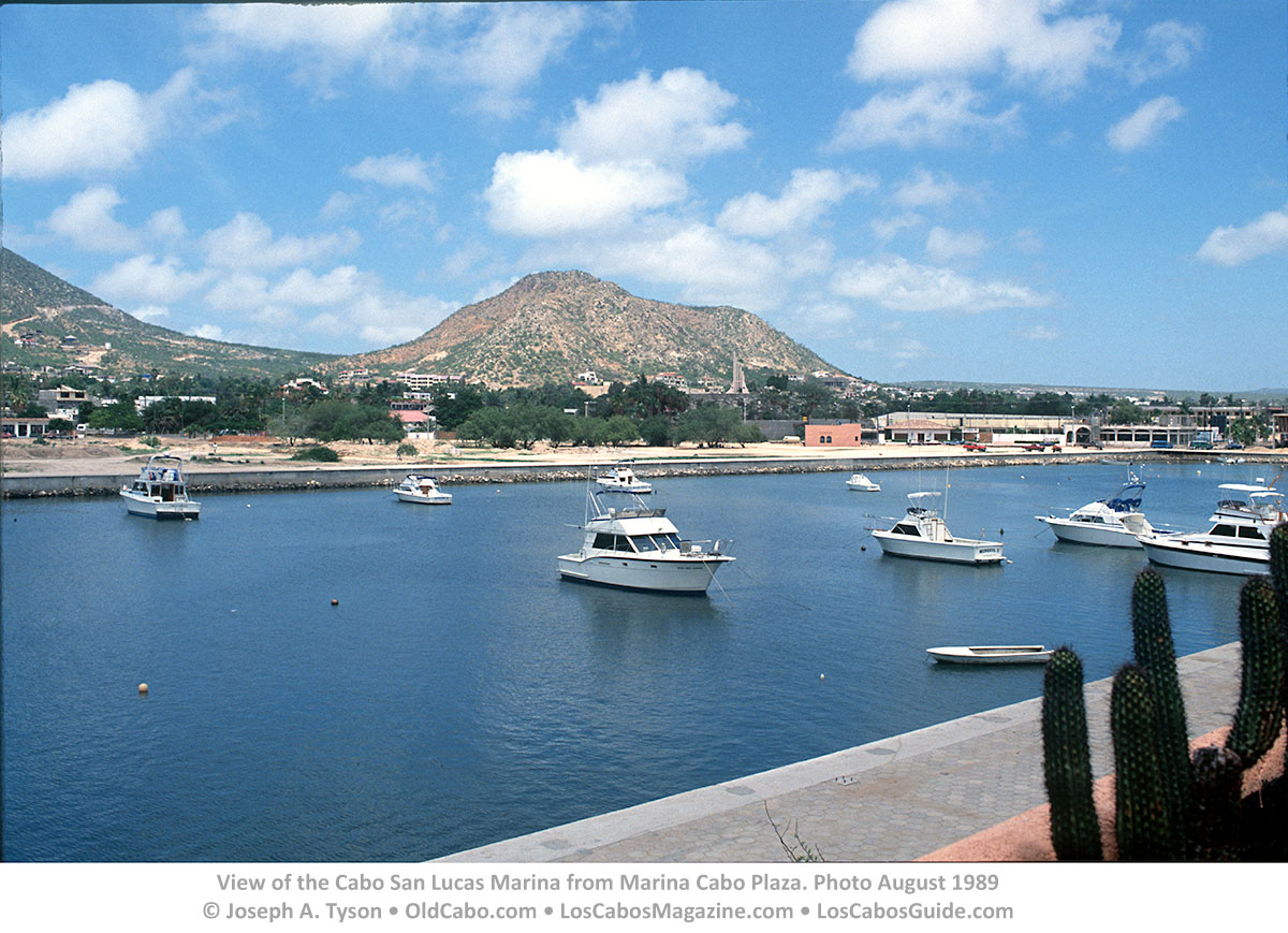 View of the Cabo San Lucas Marina from Marina Cabo Plaza. Photo August 1989 © Joseph A. Tyson