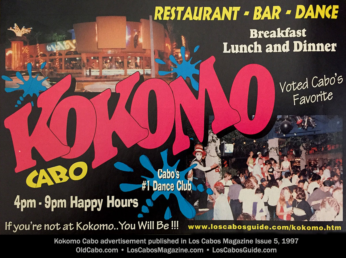 Kokomo Cabo advertisement published in Los Cabos Magazine Issue 5, 1997-98.