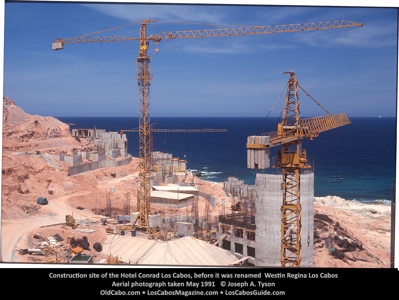 Construction site of the Hotel Conrad Los Cabos, before it was Westin Regina Los CabosAerial photograph taken May 1991 © Joseph A. Tyson