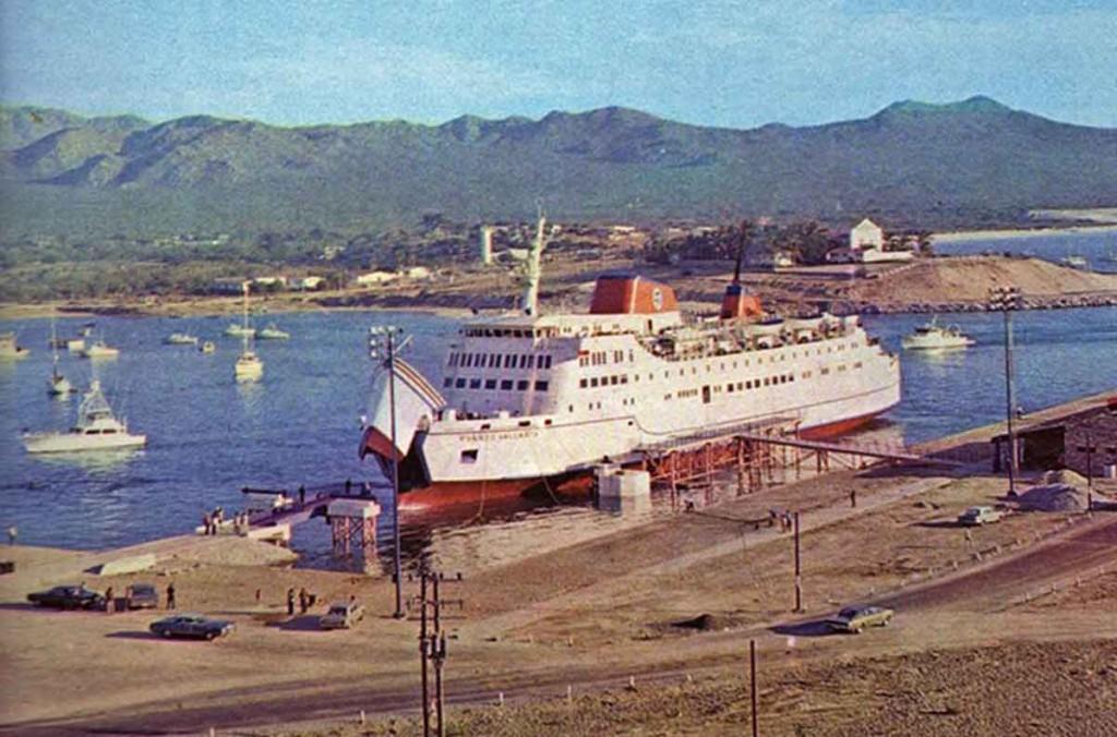 Cargo ship in Cabo San Lucas harbor circa 1975-antiguas
