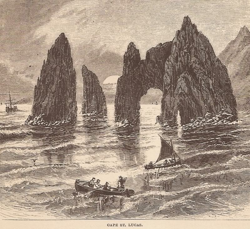 Sketch of the rock formations at Cabo San Lucas by John Ross Browne