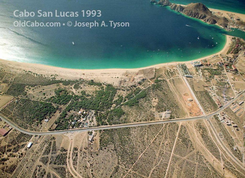 Aerial view of Cabo San Lucas Bay and Medano Beach taken in 1993. Photo by Joseph A. Tyson.