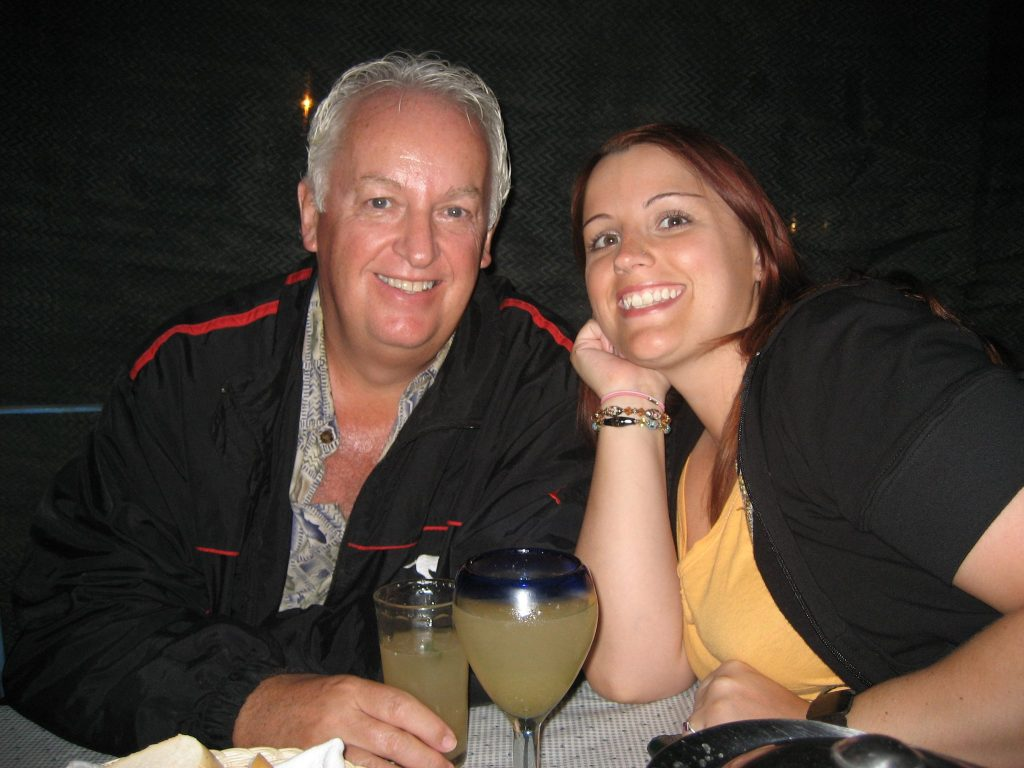 me & daughter Hailey having margaritas at Alcaravea restaurant in Cabo
