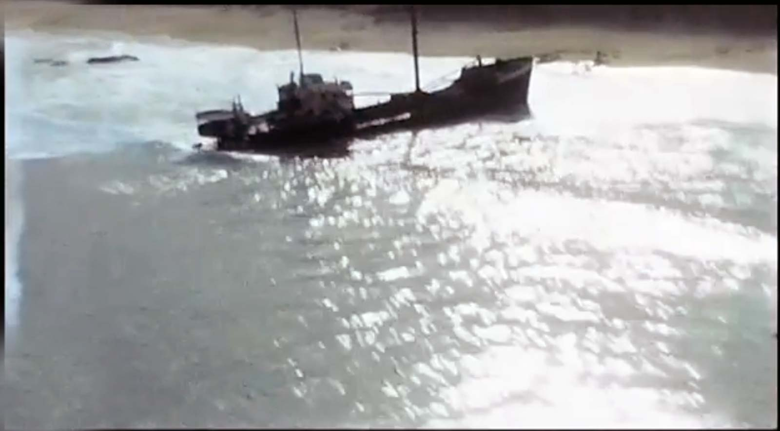 Aerial view of shipwrecks beach Cabo c1960 Jacobs Video