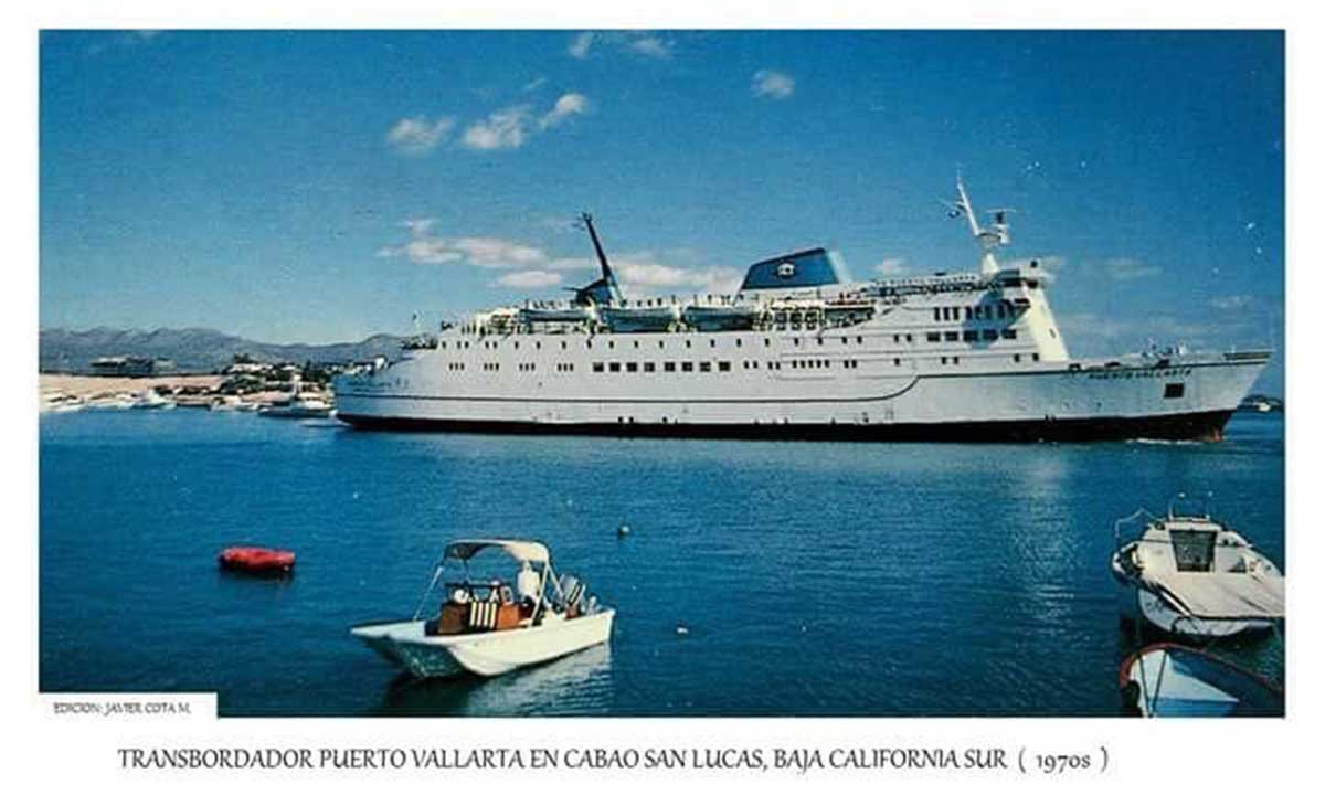 Cruise ship Puerto Vallarta in Cabo San Lucas Bay c1970s Photo Javier Cota